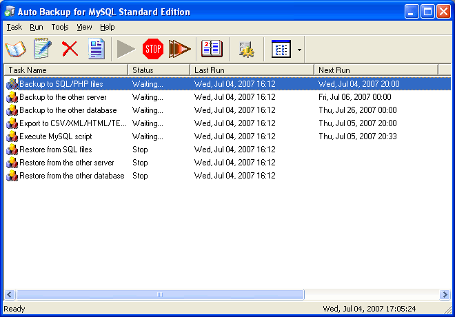 Auto Backup for MySQL Standard Edition Screenshot