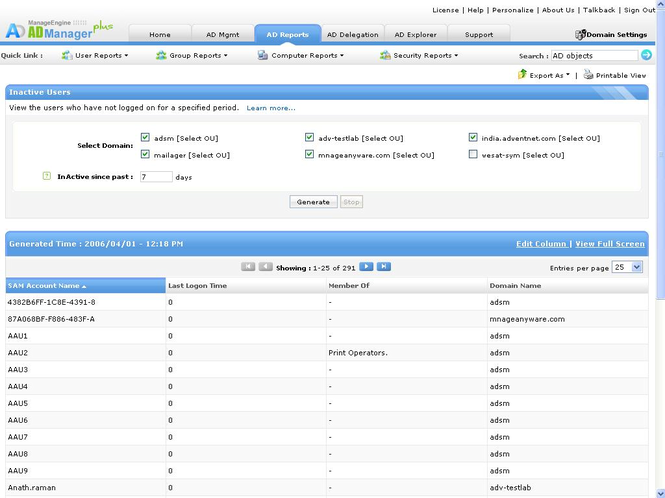 ManageEngine ADManager Plus Screenshot