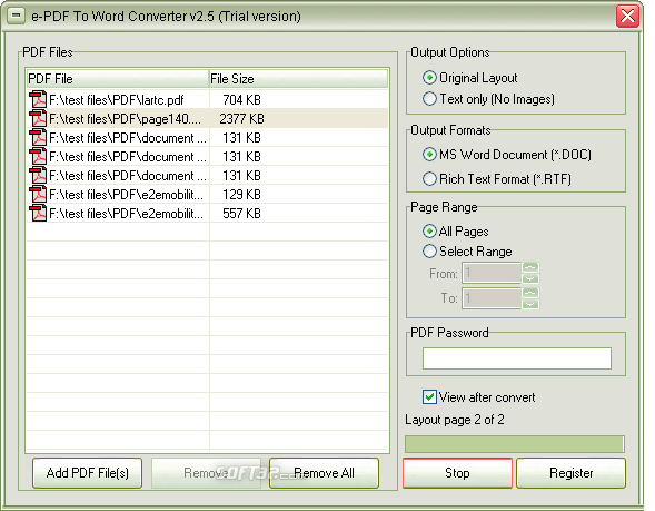 e-PDF To Word Converter Screenshot 2