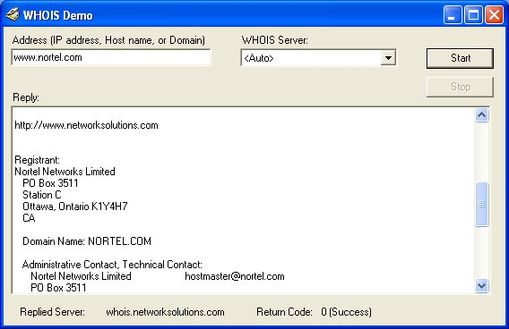 SkWHOIS ActiveX Control Screenshot