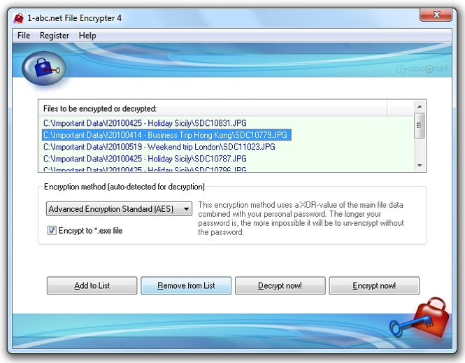 1-abc.net File Encrypter Screenshot