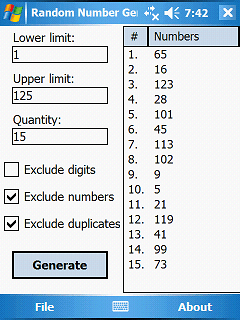 Random Number Generator PPC Screenshot