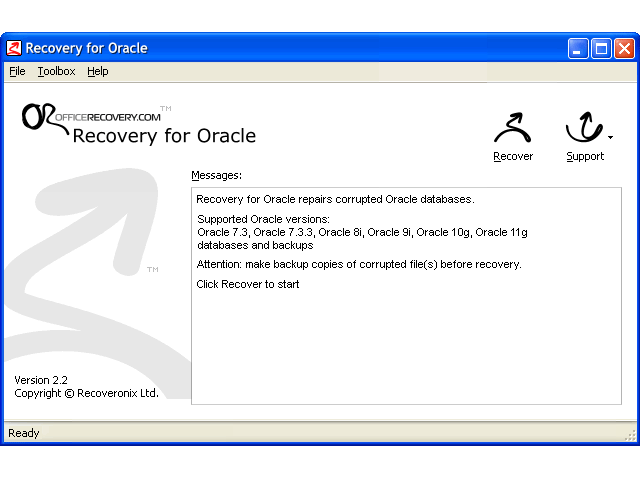 Recovery for Oracle Screenshot