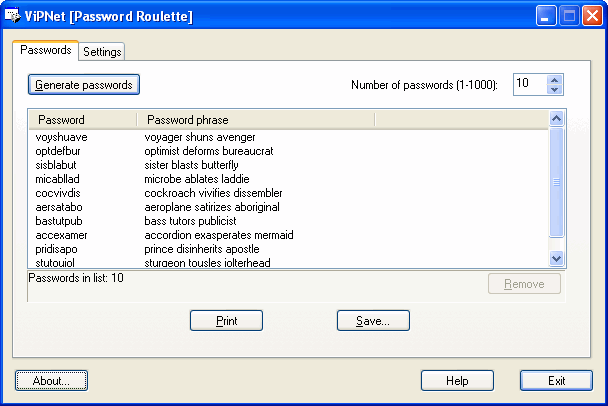 ViPNet Password Roulette Screenshot