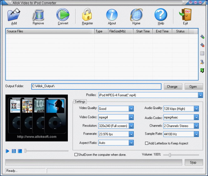 Allok Video to iPod Converter Screenshot 1