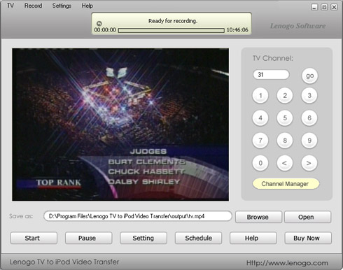 Lenogo TV to iPod Video Transfer Screenshot