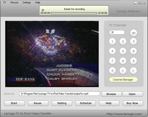 Lenogo TV to iPod Video Transfer Screenshot 1