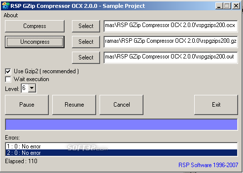 RSP GZip Compressor OCX Screenshot