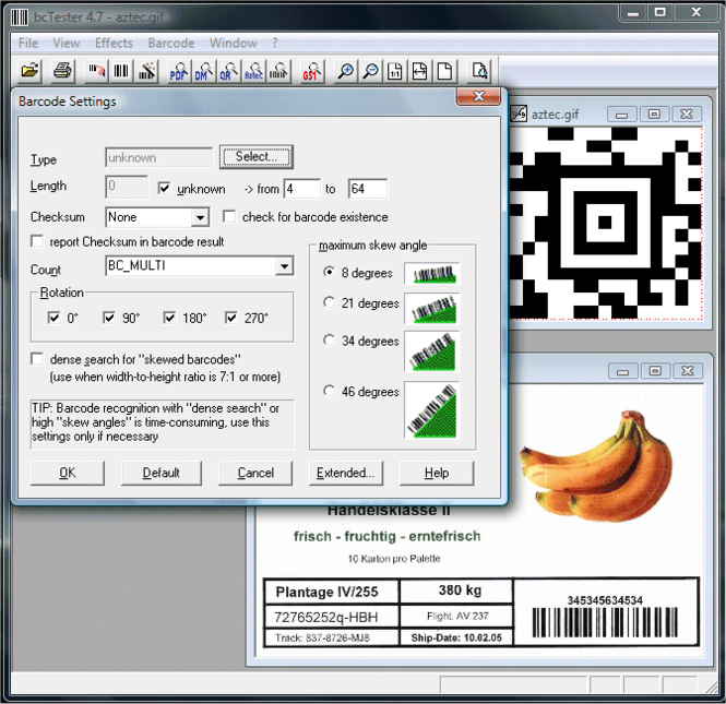 bcTester Barcode Reading and Testing Screenshot