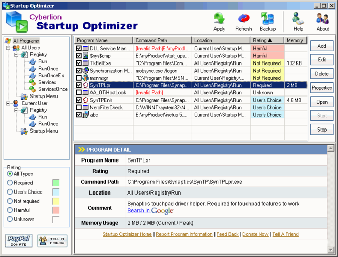 Startup Optimizer Screenshot