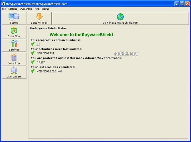 theSpywareShield AntiSpyware Screenshot 1