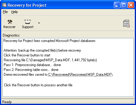 Recovery for Project Screenshot