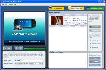 AnvSoft PSP Movie Maker Screenshot