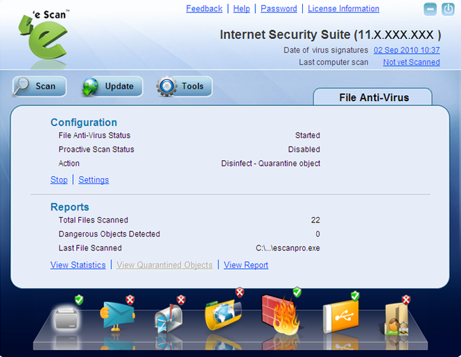 eScan Internet Security Suite Screenshot