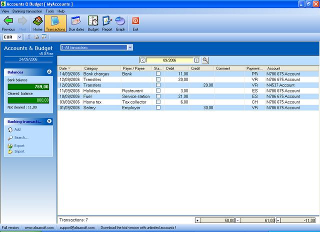 AlauxSoft Accounts and Budget Free Screenshot