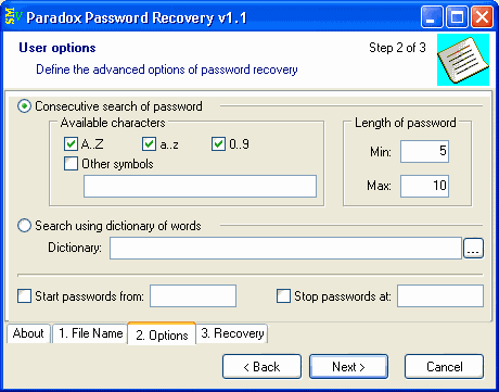 Paradox Password Recovery Screenshot