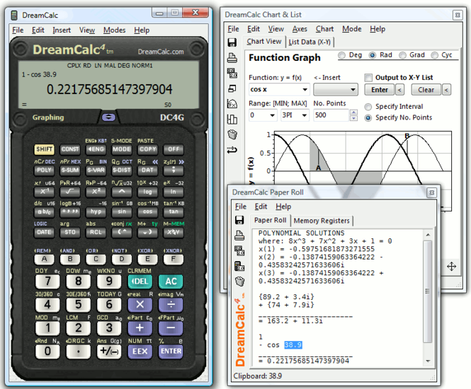 DreamCalc DCG Graphing Calculator Screenshot