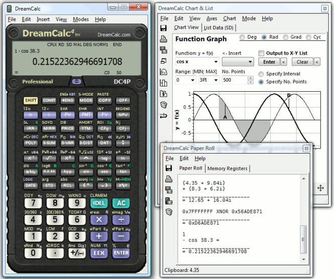 DreamCalc DCP Professional Calculator Screenshot