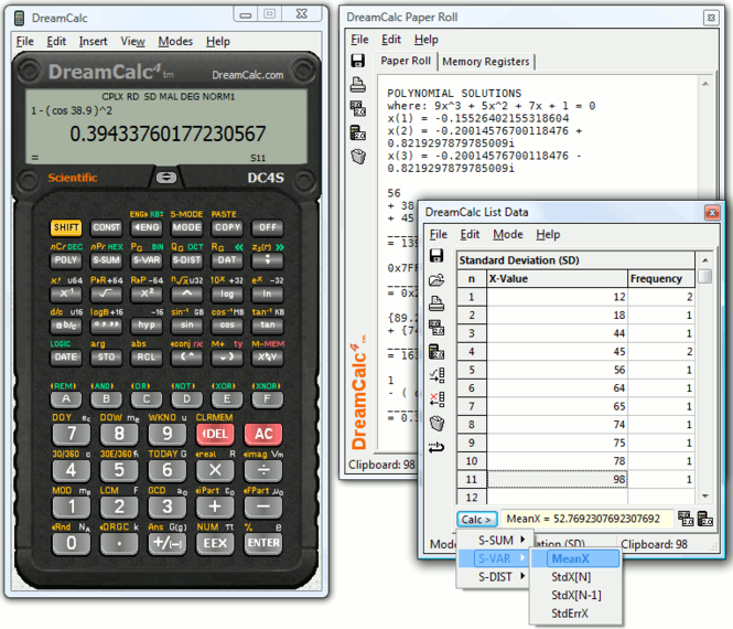 DreamCalc DCS Scientific Calculator Screenshot