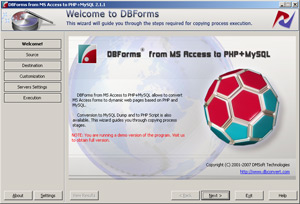 DBForms from MS Access to PHP + MySQL Screenshot