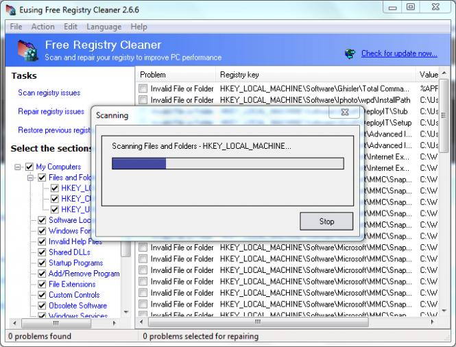 Eusing Free Registry Cleaner Screenshot 3