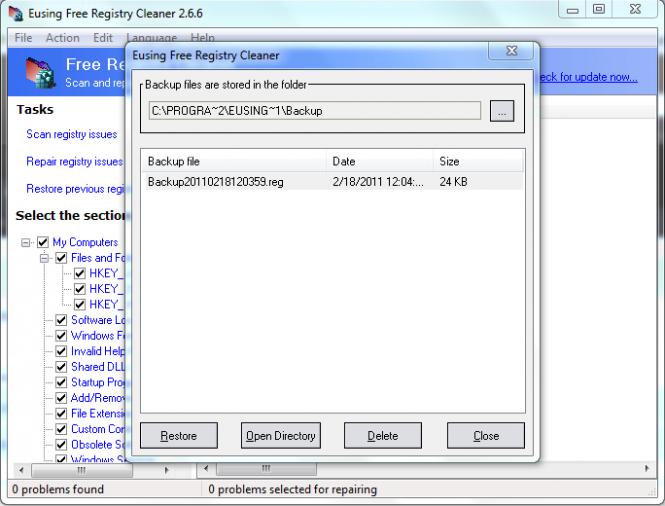 Eusing Free Registry Cleaner Screenshot 5