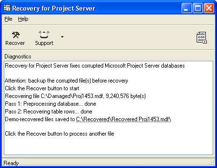 Recovery for Project Server Screenshot