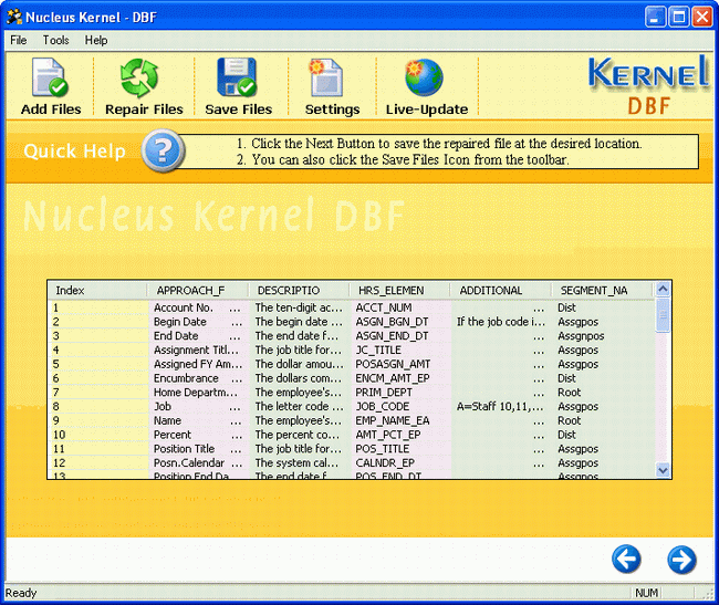 Nucleus Kernel DBF Repair Software Screenshot 1
