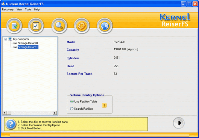 Nucleus ReiserFS Linux Partition Recovery Screenshot 1