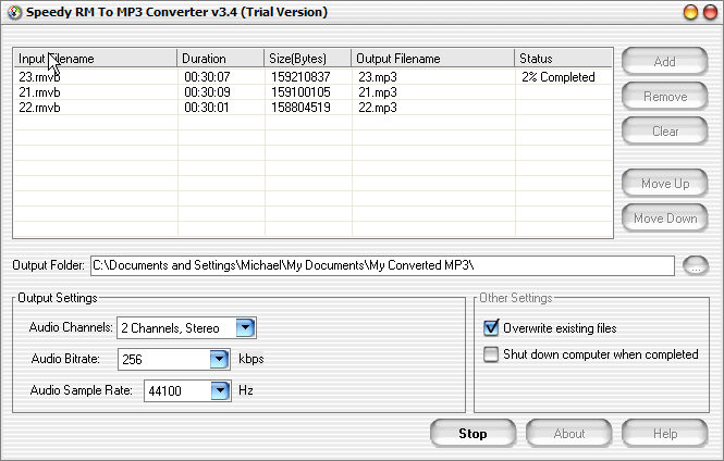 Speedy RM to MP3 Converter Screenshot