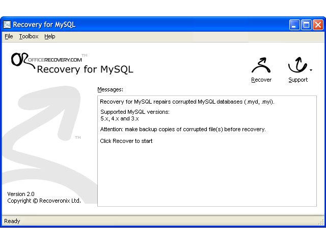 Recovery for MySQL Screenshot