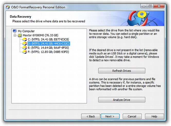 O&O FormatRecovery Screenshot
