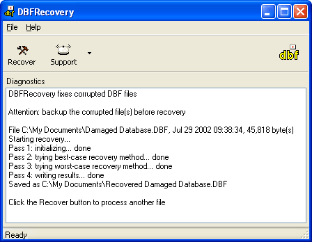DBFRecovery Screenshot