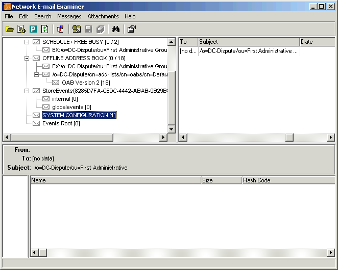 Paraben's Network E-mail Examiner Screenshot