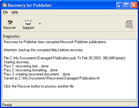Recovery for Publisher Screenshot