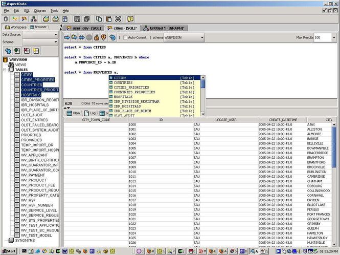 AspectData Screenshot