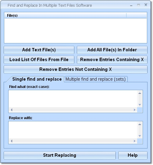 Find and Replace In Multiple Text Files Software Screenshot