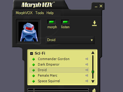 Sci-Fi Voices - MorphVOX Add-on Screenshot