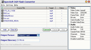ApecSoft 3GP Flash Converter Screenshot