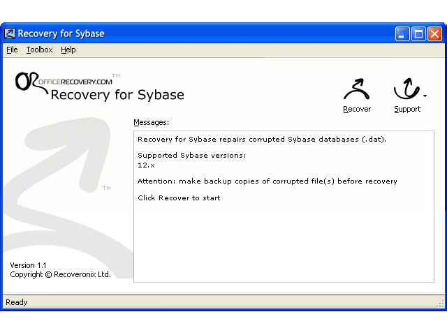 SybaseRecovery Screenshot 1