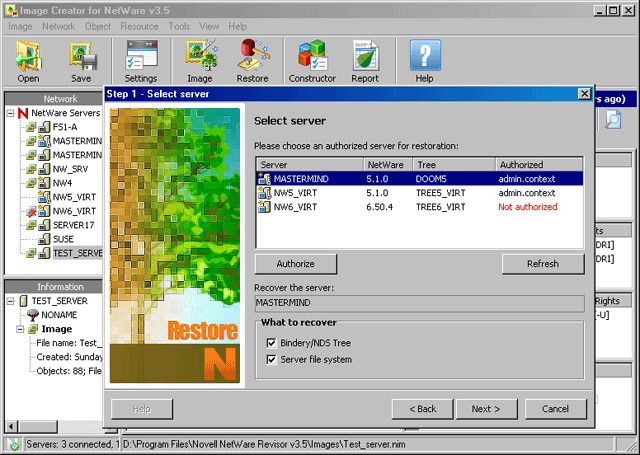Novell NetWare Revisor Screenshot