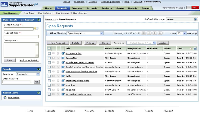 ManageEngine SupportCenter Plus Screenshot 1