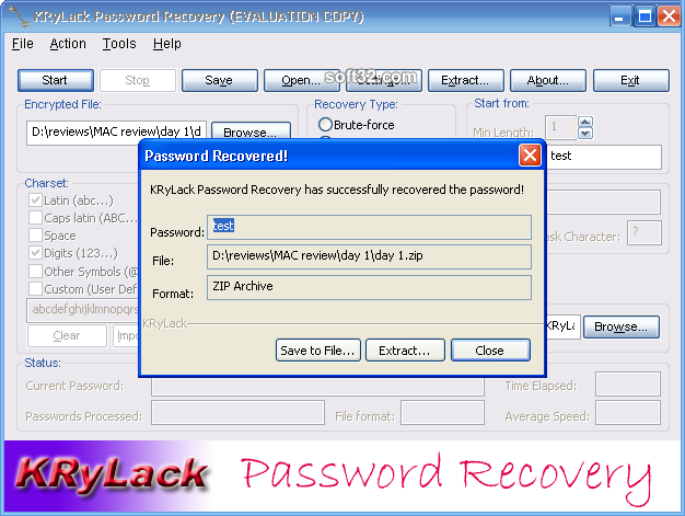 KRyLack Password Recovery Screenshot 5
