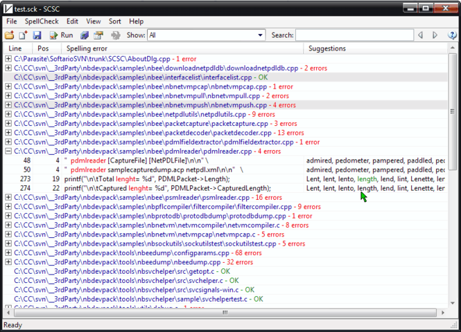 Source Code Spell Checker Screenshot