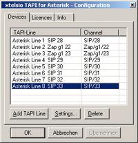 xtelsio TAPI for Asterisk Screenshot