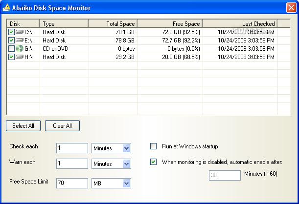 Abaiko Disk Space Monitor Screenshot 3