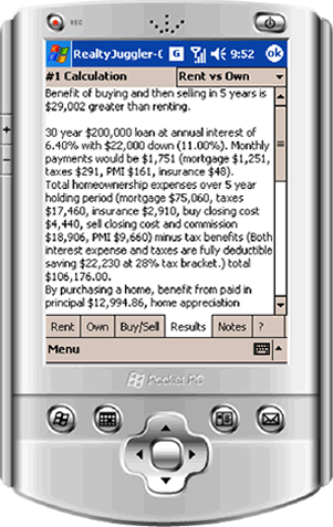RealtyJuggler Real Estate Calculator for Windows Mobile Screenshot 1