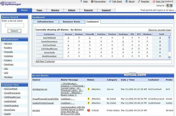 ManageEngine OpManager MSP Platform Screenshot 2