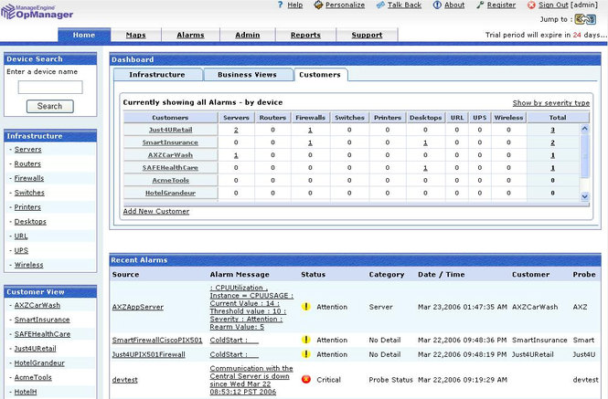 ManageEngine OpManager MSP Platform Screenshot