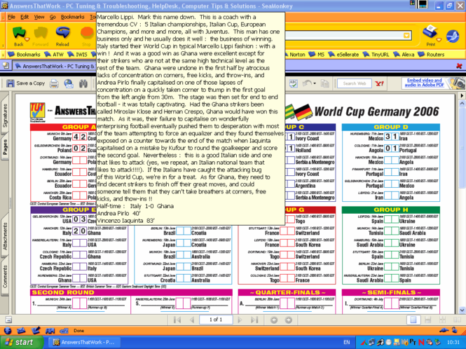 ATW Football World Cup 2006 wallchart Screenshot 1